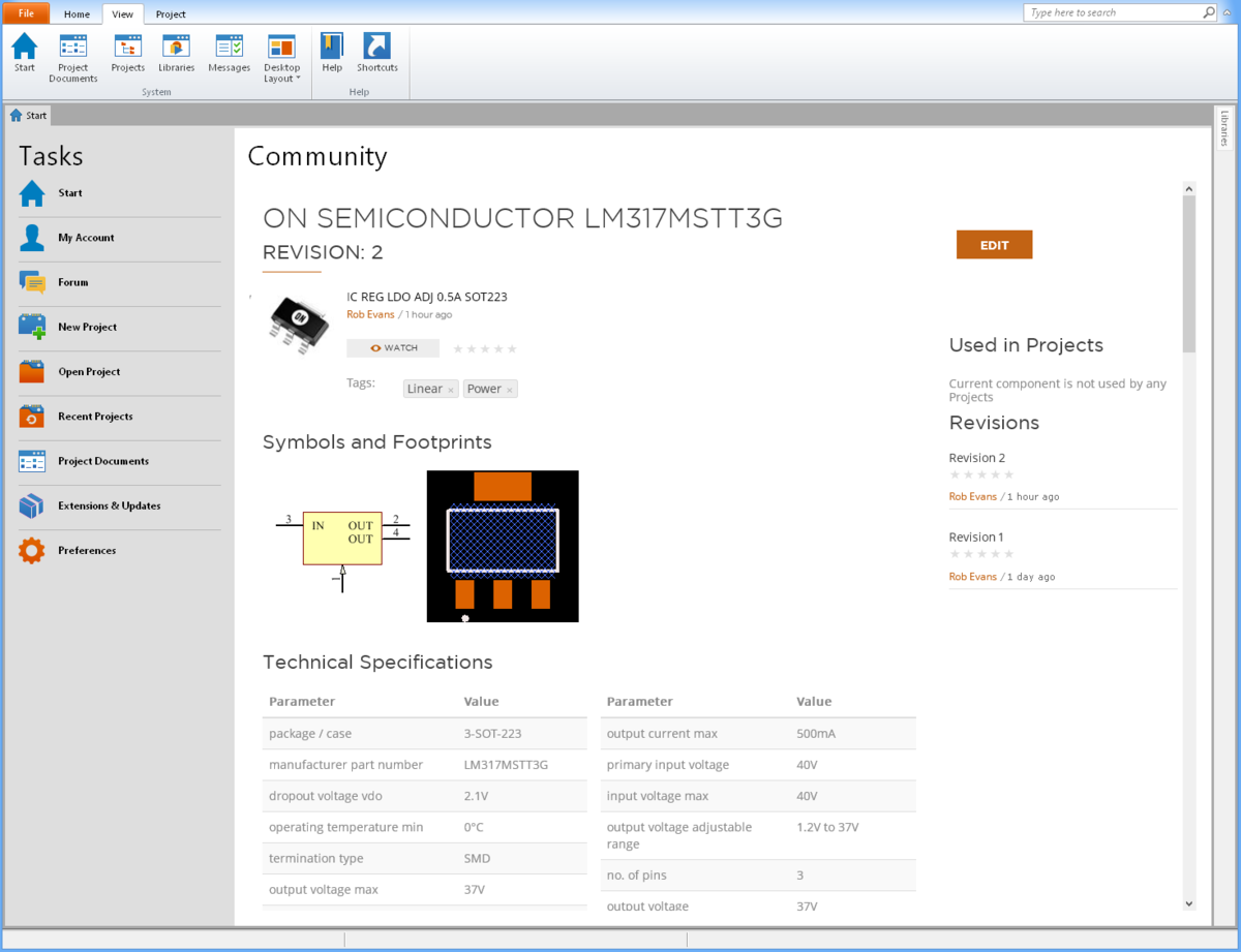 Component Management In Circuitmaker Documentation Circuit Wizard 1 General View Screenshots For 2 0 An Individual Page Opened From The Favorites Library List This Provides Direct Access To Vault Data That Including All Its